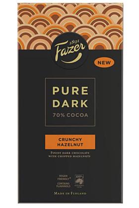 Fazer Pure Dunkle Knusper-Haselnuss Schokolade 95 g
